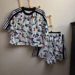 Adidas floral croptops and short